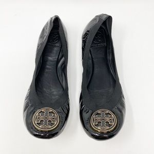 TORY BURCH Caroline Ballet Flats 10 Black Patent